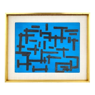 1980s Geometric Abstract Acrylic Painting, Framed For Sale