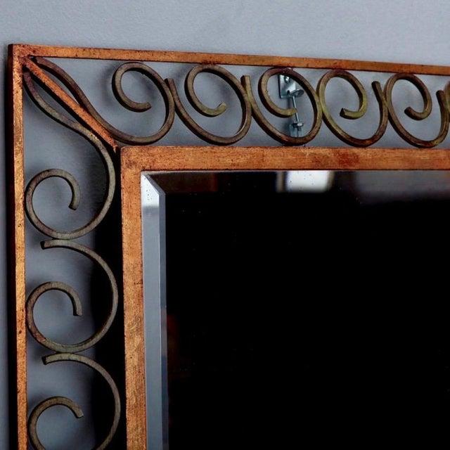Art Deco Art Deco Gilt Iron Scroll Framed Rectangular Mirror For Sale - Image 3 of 7