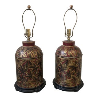 Pair of Metal Hand-Painted Floral Table Lamps For Sale