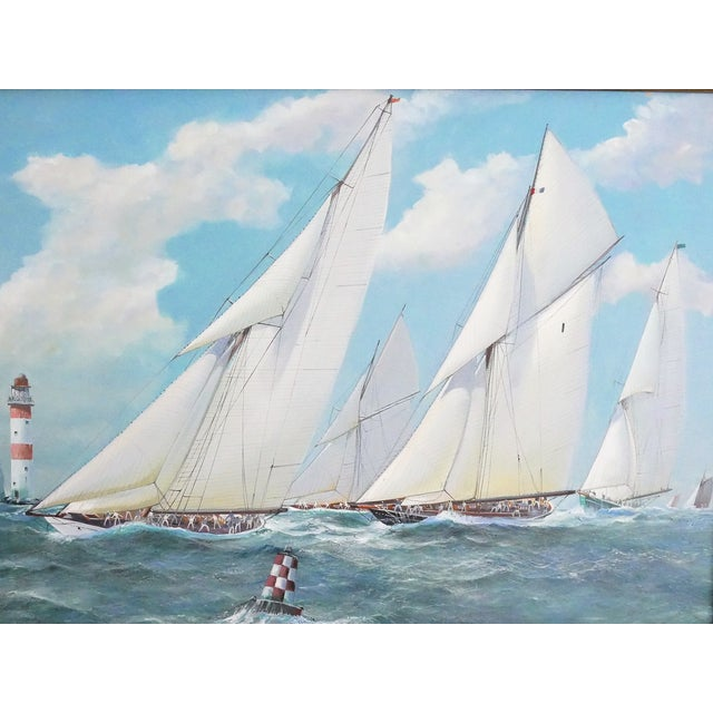 Canvas Nautical Yacht Racing Oil on Canvas, Michael Whitehand For Sale - Image 7 of 12