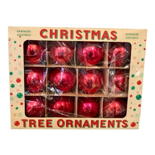 Vintage Mid-Century Tree Ornaments in Box - Set of 12 For Sale
