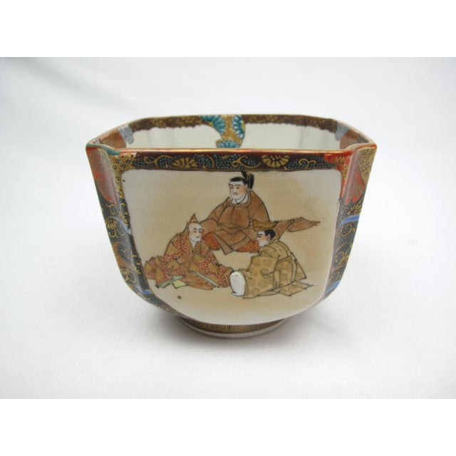 Late 19th Century Antique Japanese Square Bowl with Man Riding Fish For Sale - Image 4 of 9