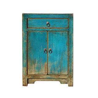 Distressed Teal Blue Lacquer Drawer End Table Nightstand For Sale