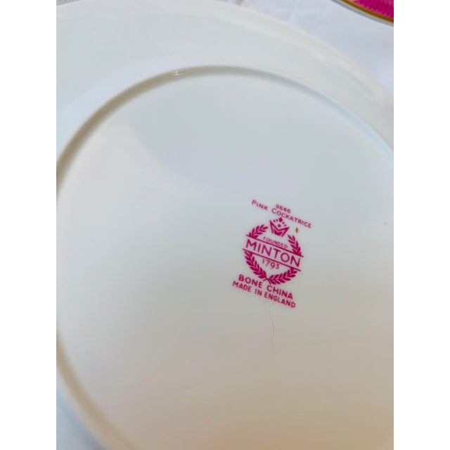 Ceramic Early 20th Century English Minton Pink Cockatrice Plates - Set of 7 For Sale - Image 7 of 8