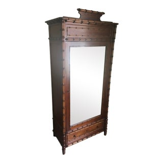 Antique French Carved Faux Bamboo Armoire or Wardrobe For Sale