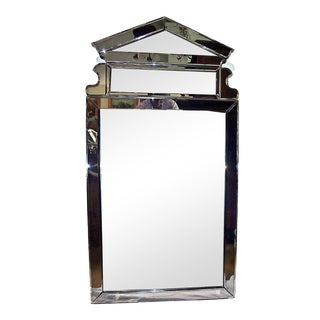 1970s Modern Beveled and Smoke Wall Mirror For Sale