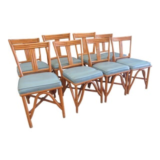 1950's Bamboo Island Style Chairs - Set of 8 For Sale