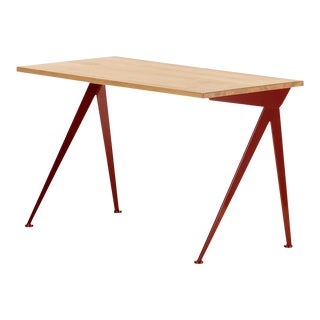 Jean Prouvé Compas Direction Desk in Natural Oak and Red Metal for Vitra For Sale
