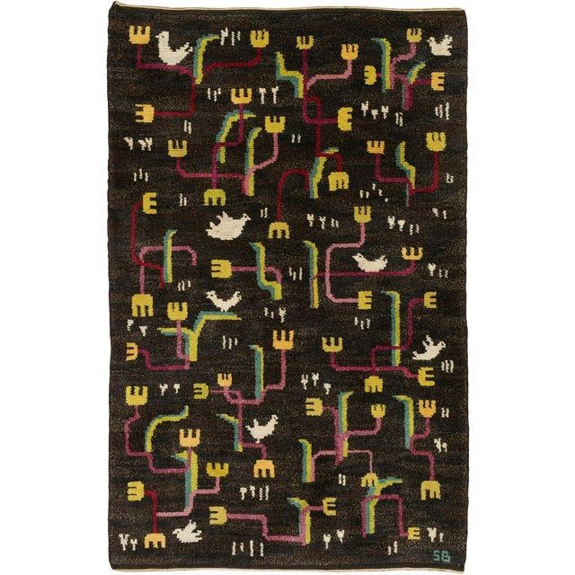 Vintage Swedish Pile Rug by Sigvard Bernadotte- 4′6″ × 6′10″ For Sale