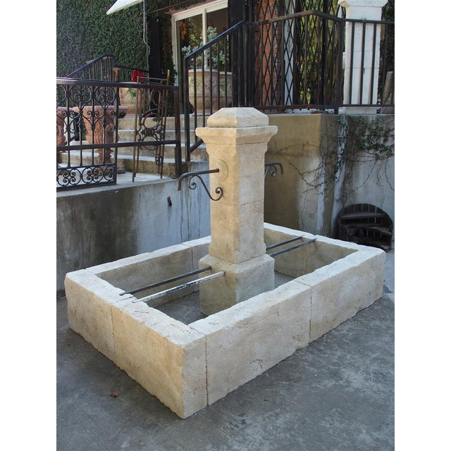 Gray Rectangular 2 Spout Limestone Center Fountain From Provence For Sale - Image 8 of 10