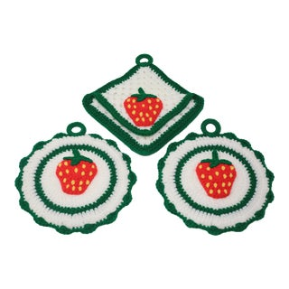 Vintage Handmade Crochet Strawberry Wall Decor - Set of 3 For Sale