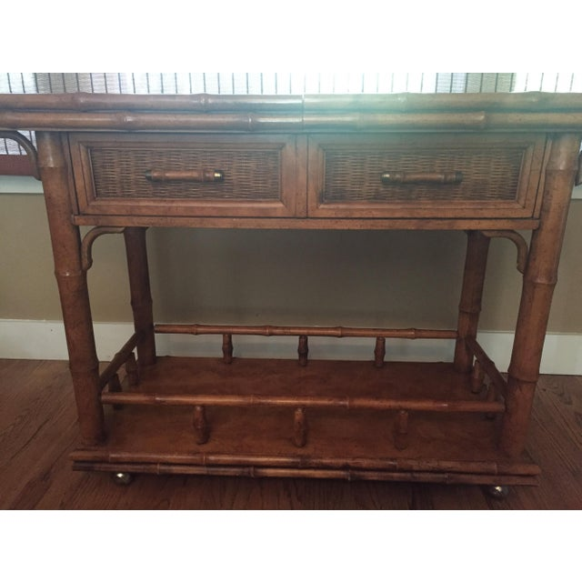 American of Martinsville Faux Bamboo Bar Server - Image 7 of 9