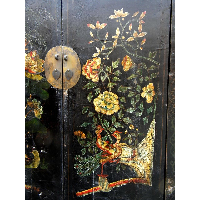 Wood 19th Century Chinoiserie-Style Black Elm Cabinet For Sale - Image 7 of 11