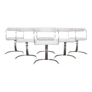 Mid-Century Modern Chrome Upholstered Chairs- Set of Six For Sale
