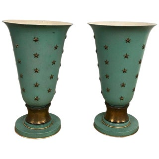 Pair of French Sea Blue & Star Motif Torchères, in the Style of Jacques Adnet For Sale