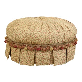 Stanford Custom Upholstered Tufted & Fringed Round Ottoman For Sale