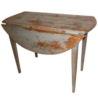 Swedish Antique Drop-Leaf Table in Original Paint. Late 18th Century
