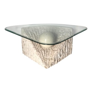 1980's Organic Modern Tesselated Mactan Stone & Glass Coffee Table For Sale
