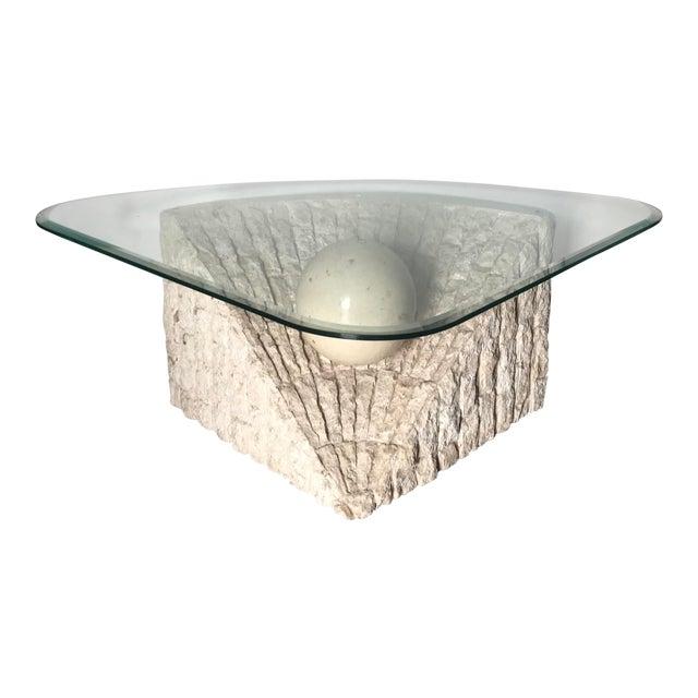 1980's Organic Modern Tesselated Mactan Stone & Glass Coffee Table For Sale