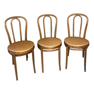 Vintage Thonet Bistro Chairs Carved Signed - Set of 3 For Sale