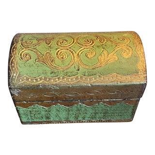 Vintage Green & Gold Florentine Trinket Jewelry Box For Sale