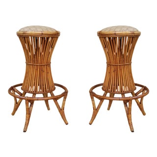 A Pair of Bamboo Bar Stools, Italy 60' For Sale