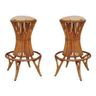 A Pair of Bamboo Bar Stools, Italy 60'