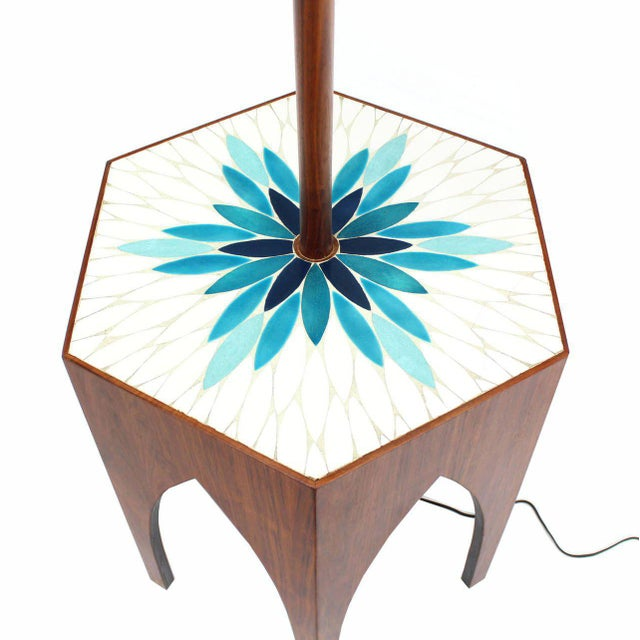 Harvey Probber Tile and Oiled Walnut Floor Lamp Side Table For Sale - Image 4 of 7