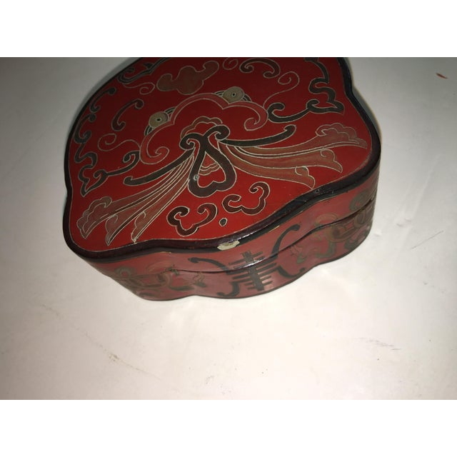 Vintage Shields Shaped Chinese Red Lacquer Box For Sale - Image 4 of 6