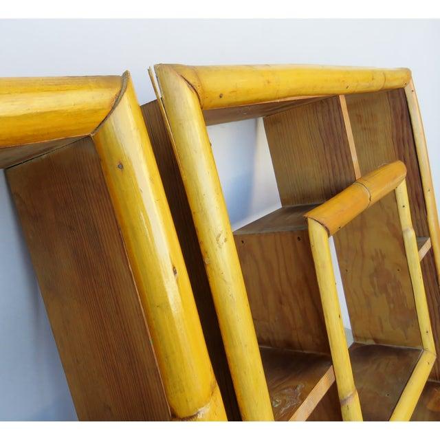 1940s Vintage Bamboo Rattan Tiki Atomic Retro Whatnot Shelves, a Pair For Sale - Image 5 of 8
