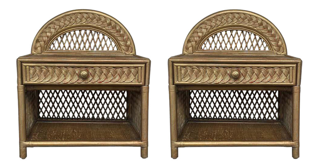 Midcentury Bamboo Rattan Gold Nightstands With Drawer And Low Shelve A Pair Chairish