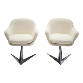 Mid Century Chrome and Bouclette Armchairs Attributed to Jacques Adnet, 1960s For Sale