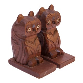 Pair of Mid-Century Modern Handcarved Owl Bookends / Sculptures For Sale
