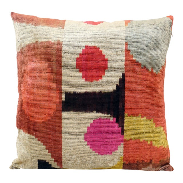 Desert Sun Multicolor Natural Silk Velvet Ikat Pillow For Sale