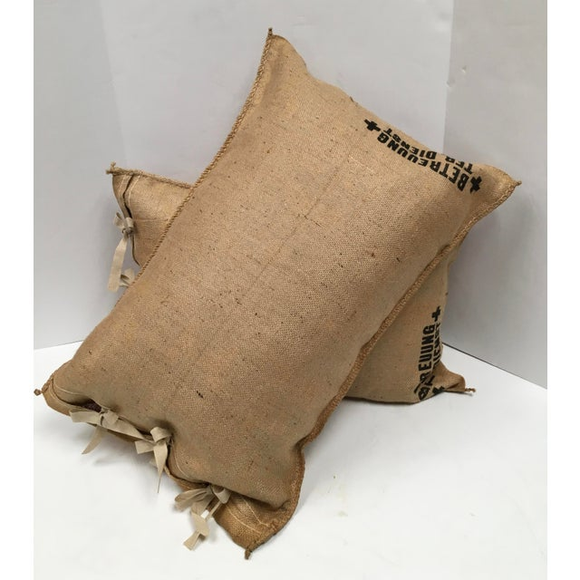Offered is a custom set of two pillows fashioned from 1940s vintage German grain sacks. Original German lettering, woven...