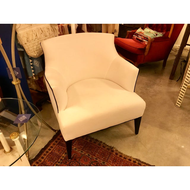 Contemporary Custom-Made Classic Modern Lined Armchair For Sale - Image 3 of 8