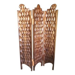 Boho Chic Hand Carved Wood Room Divider For Sale
