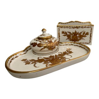 Vintage Limoges Hand Painted Gilt Porcelain 3 Piece Desk Set For Sale