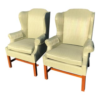 Vintage Green Upholstered Wingback Chairs - a Pair For Sale