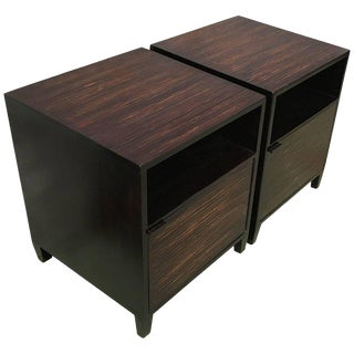 20th Pair of Ebonized Macassar NightStands or Side Tables With One Door For Sale