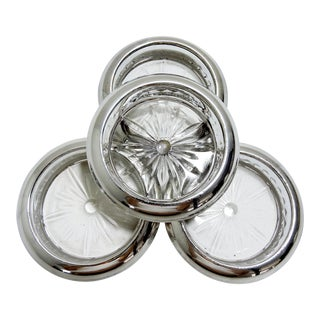 Vintage Sterling Silver & Glass 'Starburst' Coasters - Set of 4 For Sale