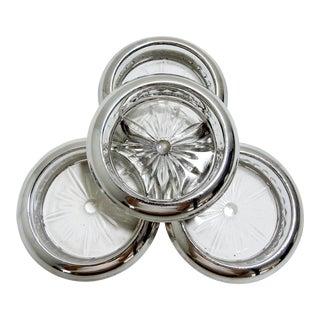 Vintage Webster Sterling Silver & Glass 'Starburst' Coasters - Set of 4 For Sale