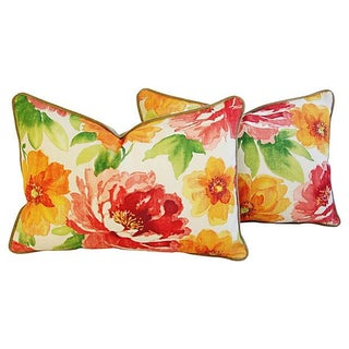 "Jewel-Tone Floral Lumbar Feather/Down Pillows 26"" X 18"" - Pair For Sale"