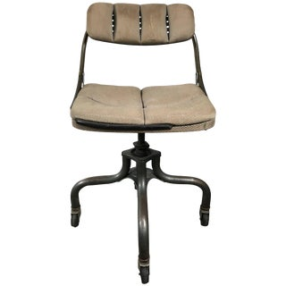 Early Antique Industrial Adjustable Rolling Desk Chair by DoMore For Sale