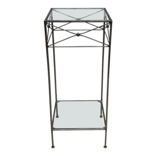 Modern Metal and Glass Pedestal Table For Sale