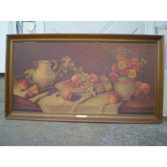 This is a vintage print of a painting by A. Leder, called Fruits and Flowers. It is a realistic still life of grapes,...