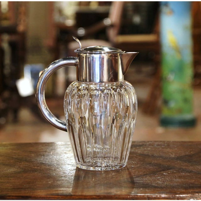 Midcentury French Cut-Glass and Silvered Brass Pitcher With Ice Holder Insert For Sale - Image 4 of 10