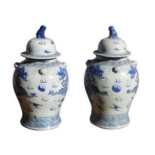 Chinese Double Dragons General Jars - a Pair