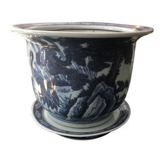 Vintage Blue and White Chinoiserie Planter For Sale
