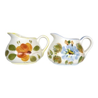 Vintage Hand Painted Portuguese Floral Blue and Orange Pitchers- a Pair For Sale